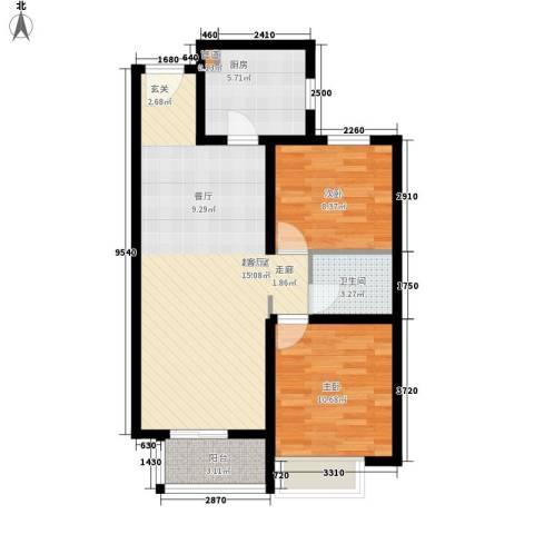 丹东万达广场2室0厅1卫1厨86.00㎡户型图
