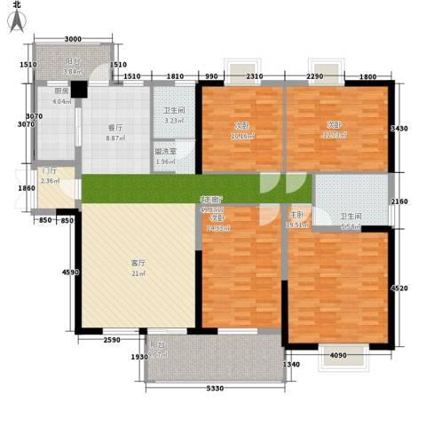 五岭国际4室1厅2卫1厨175.00㎡户型图