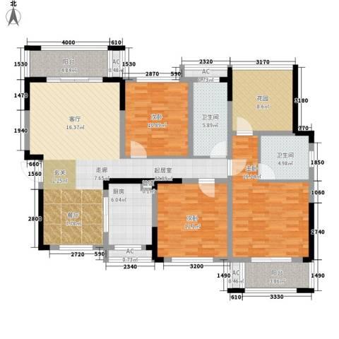 鑫天格林香山3室0厅2卫1厨128.00㎡户型图