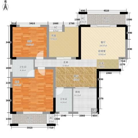 鑫天格林香山2室0厅2卫1厨113.00㎡户型图
