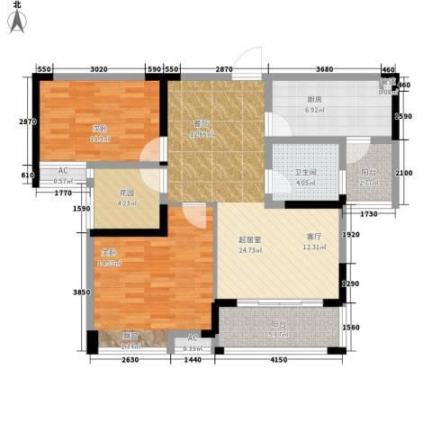鑫天格林香山2室0厅1卫1厨87.00㎡户型图