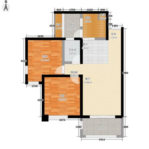 协信柠檬郡2室1厅1卫1厨76.00㎡户型图