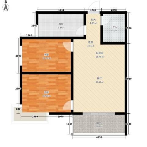 地久艳阳天2室0厅1卫1厨80.00㎡户型图