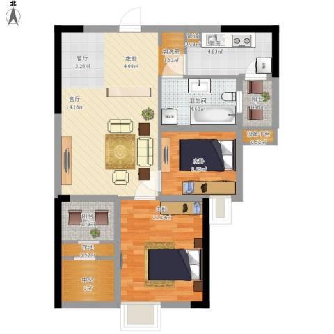 招商花园城2室1厅1卫1厨86.00㎡户型图