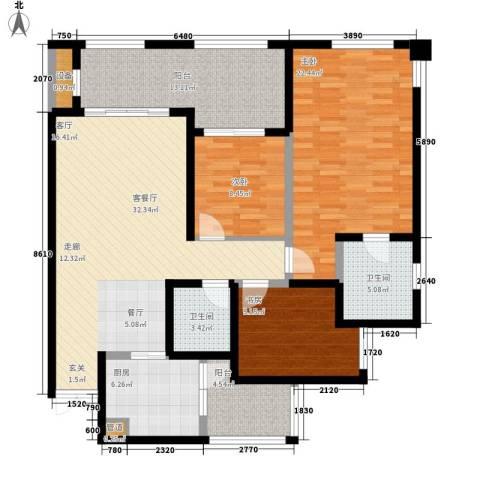 协信柠檬郡3室1厅2卫1厨108.00㎡户型图