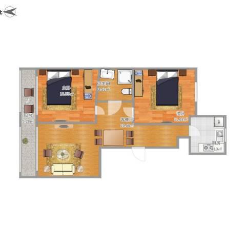 君地天城2室1厅1卫1厨75.00㎡户型图
