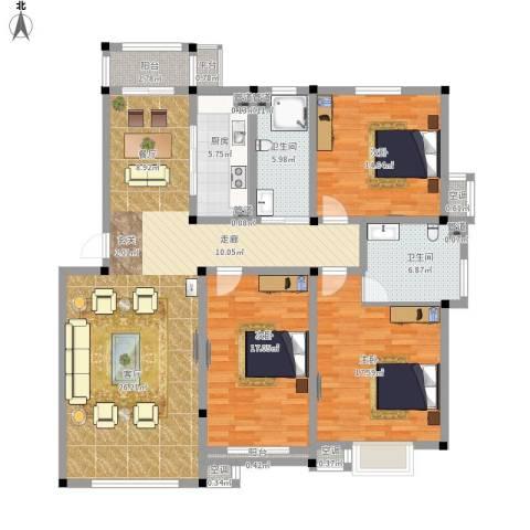 中建绿洲国际花园3室1厅2卫1厨174.00㎡户型图