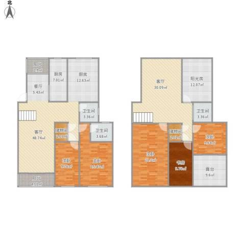 长阳花园5室2厅3卫1厨262.00㎡户型图