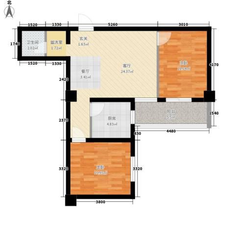 昆明湖畔2室1厅1卫1厨81.00㎡户型图