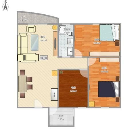 博书苑B区3室1厅1卫1厨111.00㎡户型图