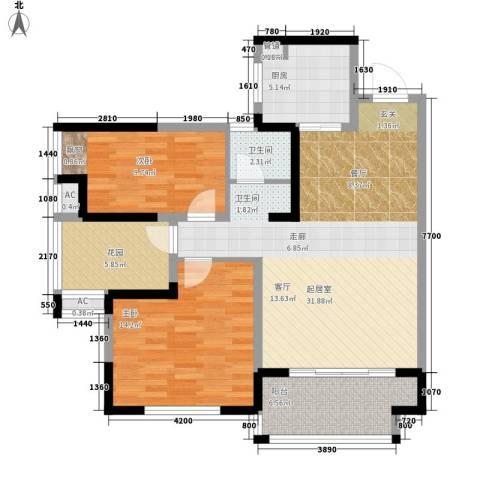 鑫天格林香山2室0厅1卫1厨89.00㎡户型图