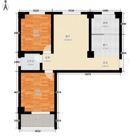 昆明湖畔2室1厅1卫1厨97.00㎡户型图
