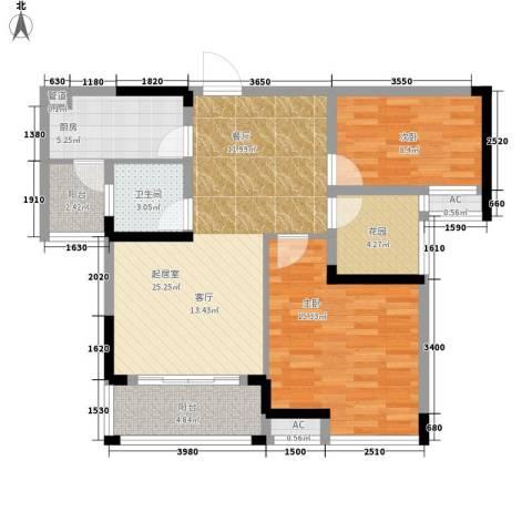 鑫天格林香山2室0厅1卫1厨82.00㎡户型图