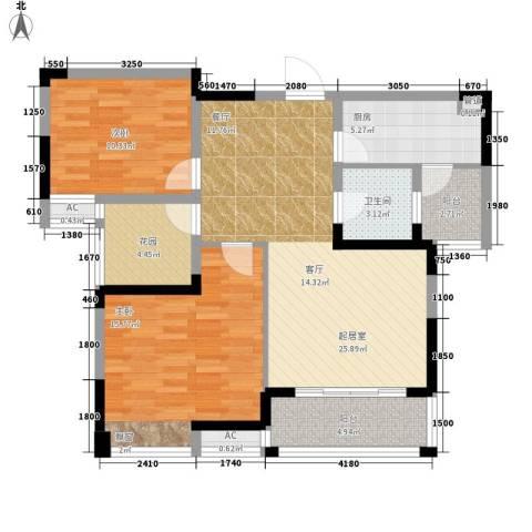 鑫天格林香山2室0厅1卫1厨86.00㎡户型图