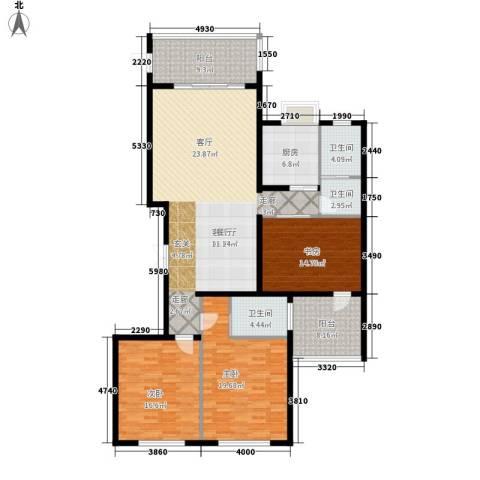 中央花园3室1厅3卫1厨149.00㎡户型图