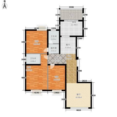 中央花园3室1厅2卫1厨152.00㎡户型图