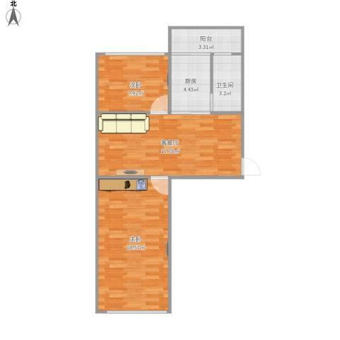 妇联小区2室1厅1卫1厨68.00㎡户型图