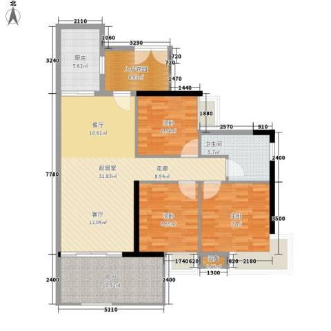 翠城花园3室0厅1卫1厨101.00㎡户型图