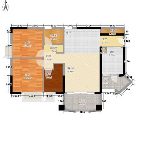 美林湖畔3室0厅1卫1厨100.00㎡户型图