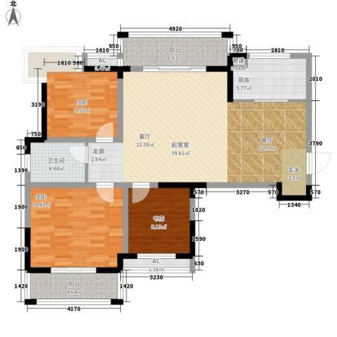 鑫天格林香山3室0厅1卫1厨109.00㎡户型图