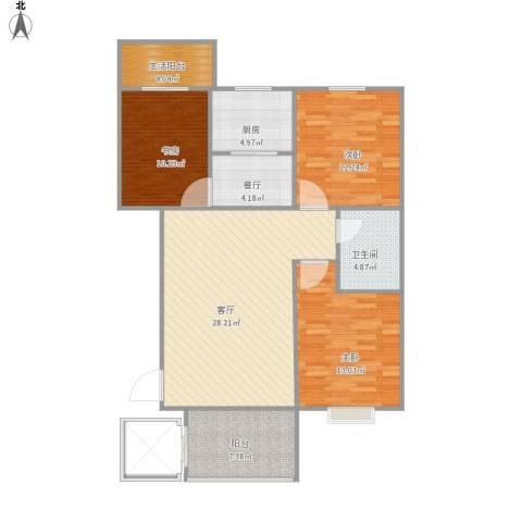 阳光小区3室2厅1卫1厨120.00㎡户型图
