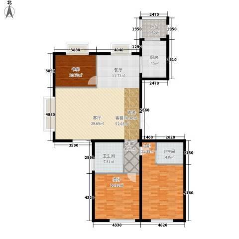 中央花园3室1厅2卫1厨139.00㎡户型图