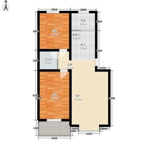 金港第五大道2室1厅1卫1厨104.00㎡户型图