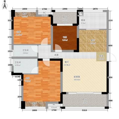 鑫天格林香山3室0厅2卫1厨117.00㎡户型图