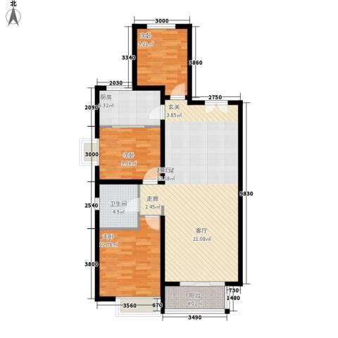 丹东万达广场3室0厅1卫1厨123.00㎡户型图