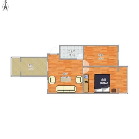 修造厂 郑姐2室1厅1卫1厨66.00㎡户型图