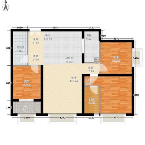 丹东万达广场3室0厅1卫1厨128.00㎡户型图