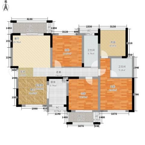鑫天格林香山3室0厅2卫1厨129.00㎡户型图