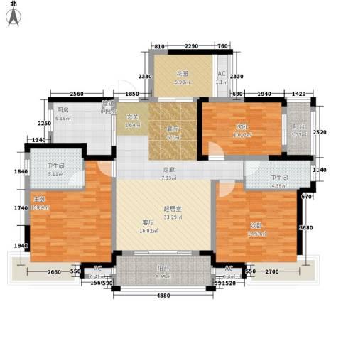 鑫天格林香山3室0厅2卫1厨124.00㎡户型图