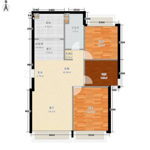 华发新城3室0厅1卫1厨108.00㎡户型图