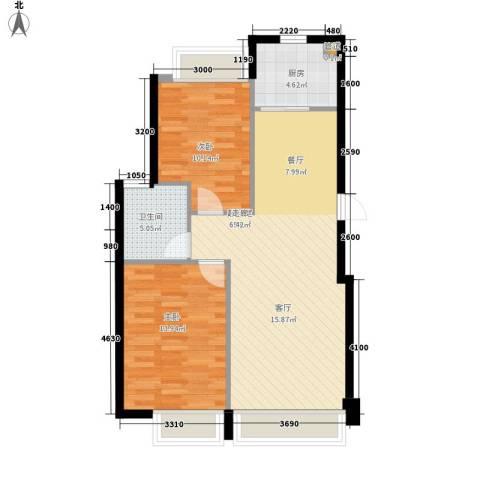 华发新城2室0厅1卫1厨87.00㎡户型图