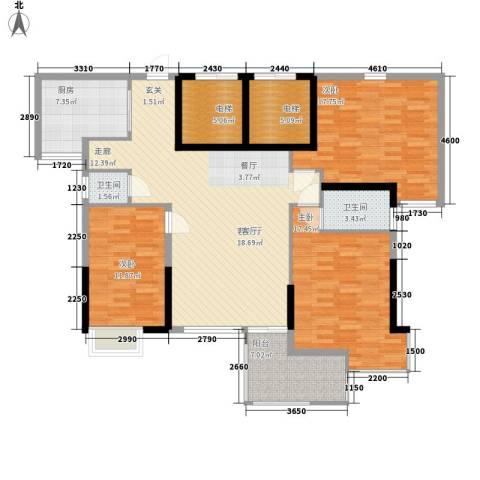 五岭国际3室1厅2卫1厨159.00㎡户型图