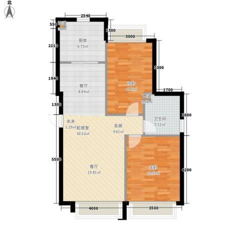 华发新城2室0厅1卫1厨93.00㎡户型图