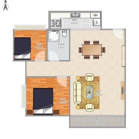 东骏豪庭2室1厅1卫1厨136.00㎡户型图