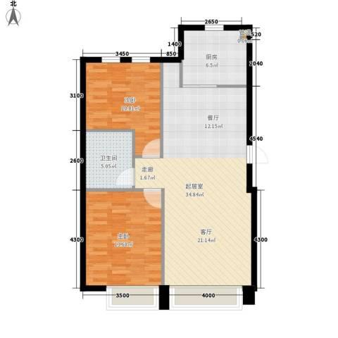 华发新城2室0厅1卫1厨98.00㎡户型图