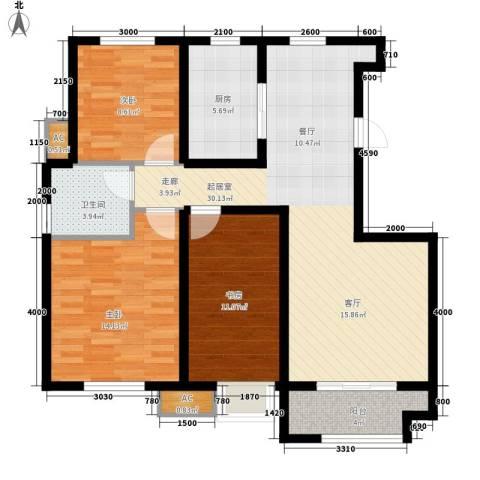 金辰富海广场3室0厅1卫1厨110.00㎡户型图