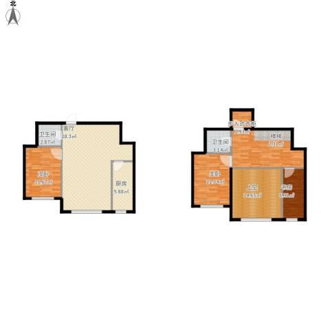 盛和湾3室1厅2卫1厨137.00㎡户型图