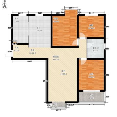 金辰富海广场3室0厅1卫1厨130.00㎡户型图