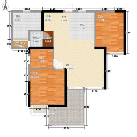 五岭国际3室1厅1卫1厨119.00㎡户型图