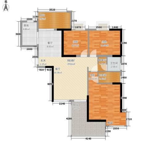 五岭国际3室1厅2卫1厨148.00㎡户型图
