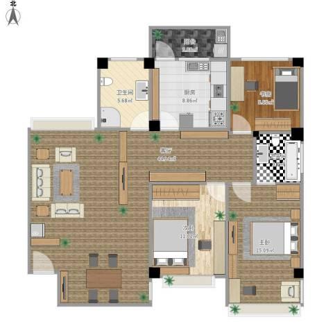 港龙花园3室1厅2卫1厨109.48㎡户型图