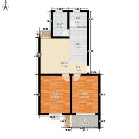 银河花园2室0厅1卫1厨91.00㎡户型图
