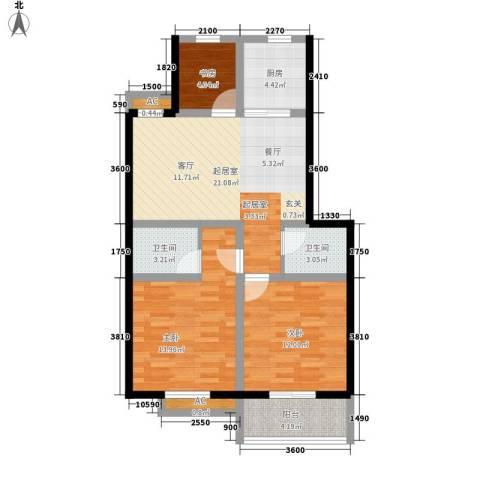 秀水人家3室0厅2卫1厨85.00㎡户型图