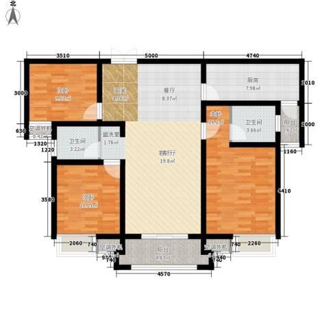鼎盛国际3室1厅2卫1厨135.00㎡户型图