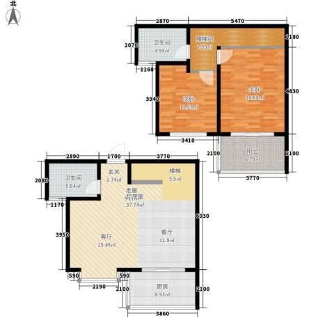 地久艳阳天2室0厅2卫1厨109.00㎡户型图