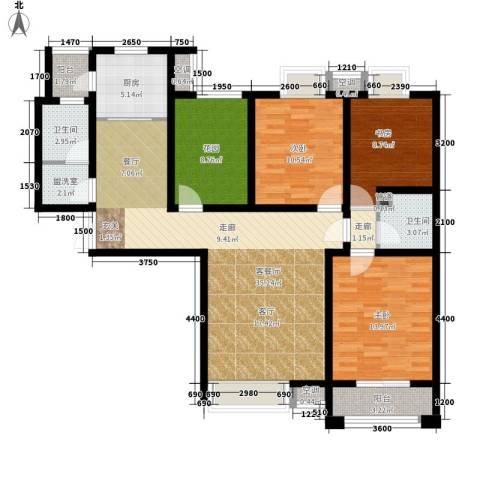 鼎盛国际3室1厅2卫1厨144.00㎡户型图
